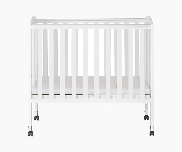 Dream On Me 2-in-1 Portable White Folding Stationary Side Crib
